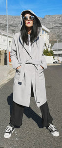 Grey Hooded Melton Coat | front with Urban look
