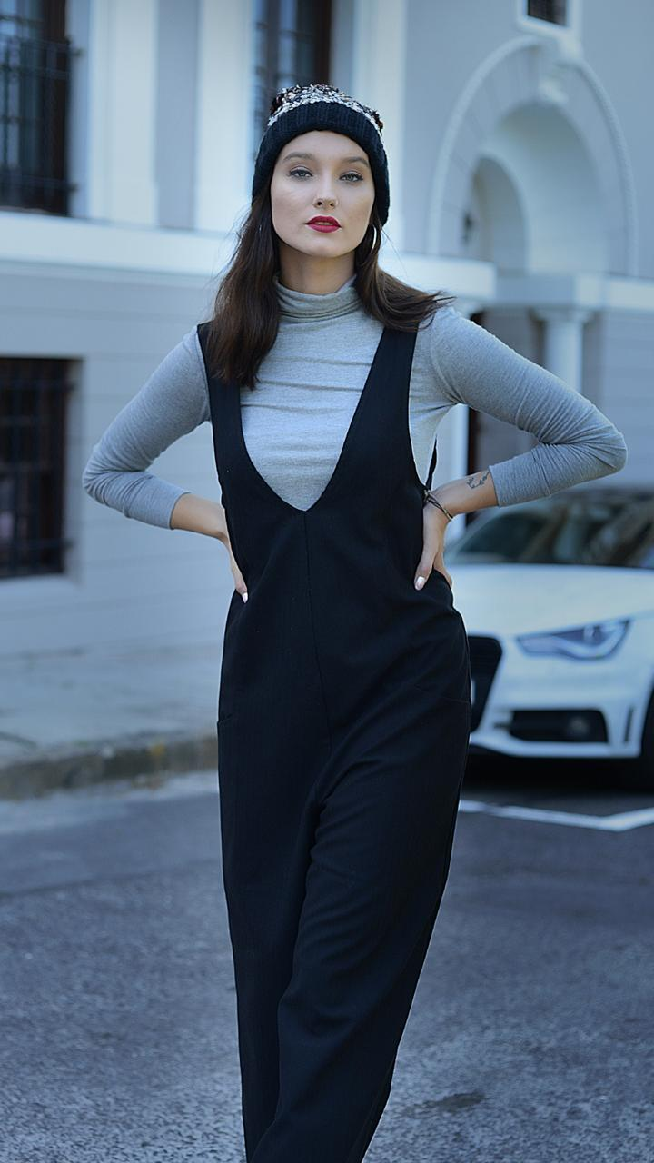 Grey Turtleneck Top shown with V-Neck Suiting Jumpsuit