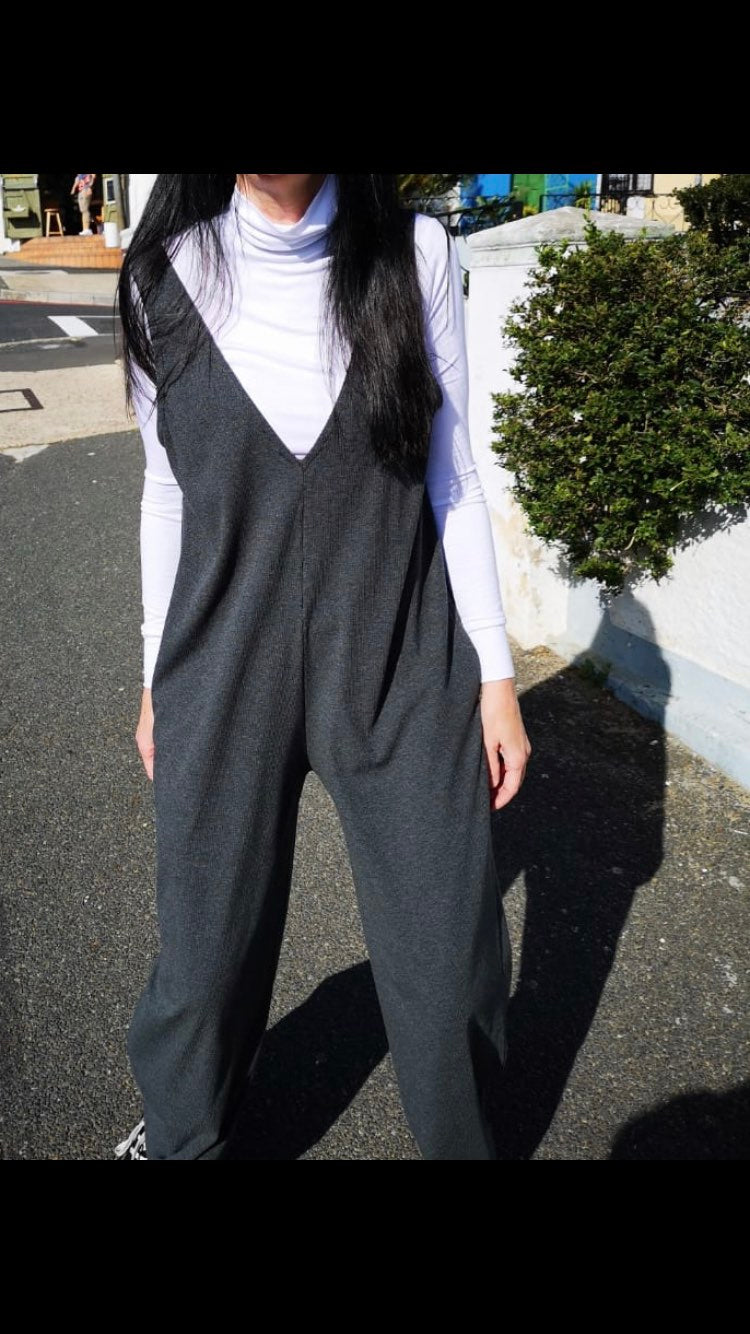 GREY RIB KNIT JUMPSUIT