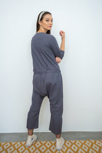 Harem Utility Linen Jumpsuit rear view