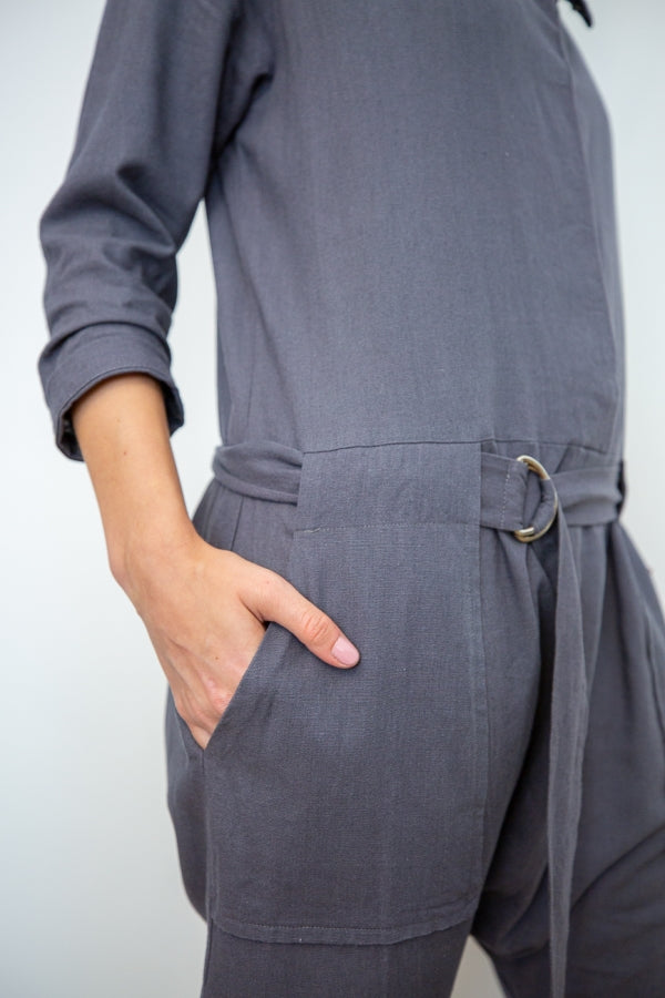 Harem Utility Linen Jumpsuit side pocket detail