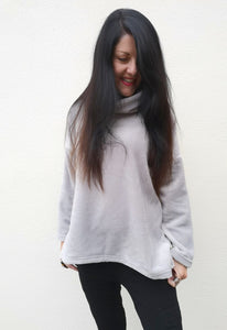 Grey Faux Fur funnel neck Sweater front view