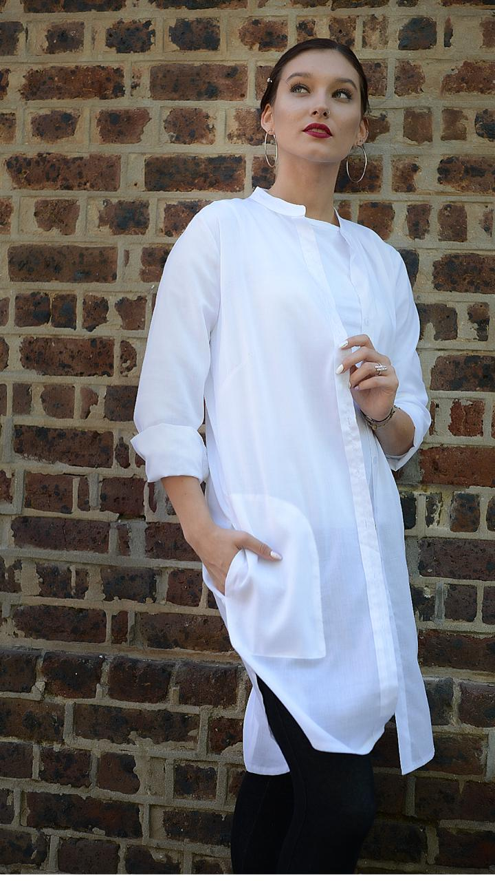 White Longline Cotton Voile Shirt front view