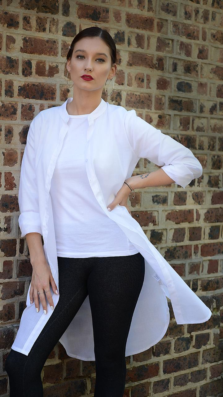 White Longline Cotton Voile Shirt flowing front view