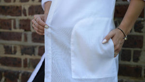 White Longline Cotton Voile Shirt pocket detail