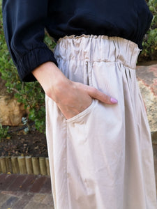 Stone coloured Cotton Parachute Pants one size fits all - showing pocket detail