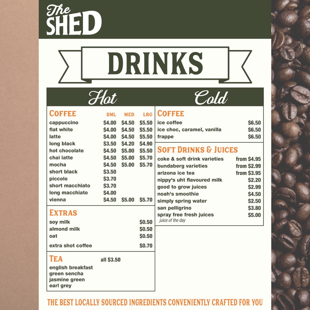 The Shed Drinks Menu