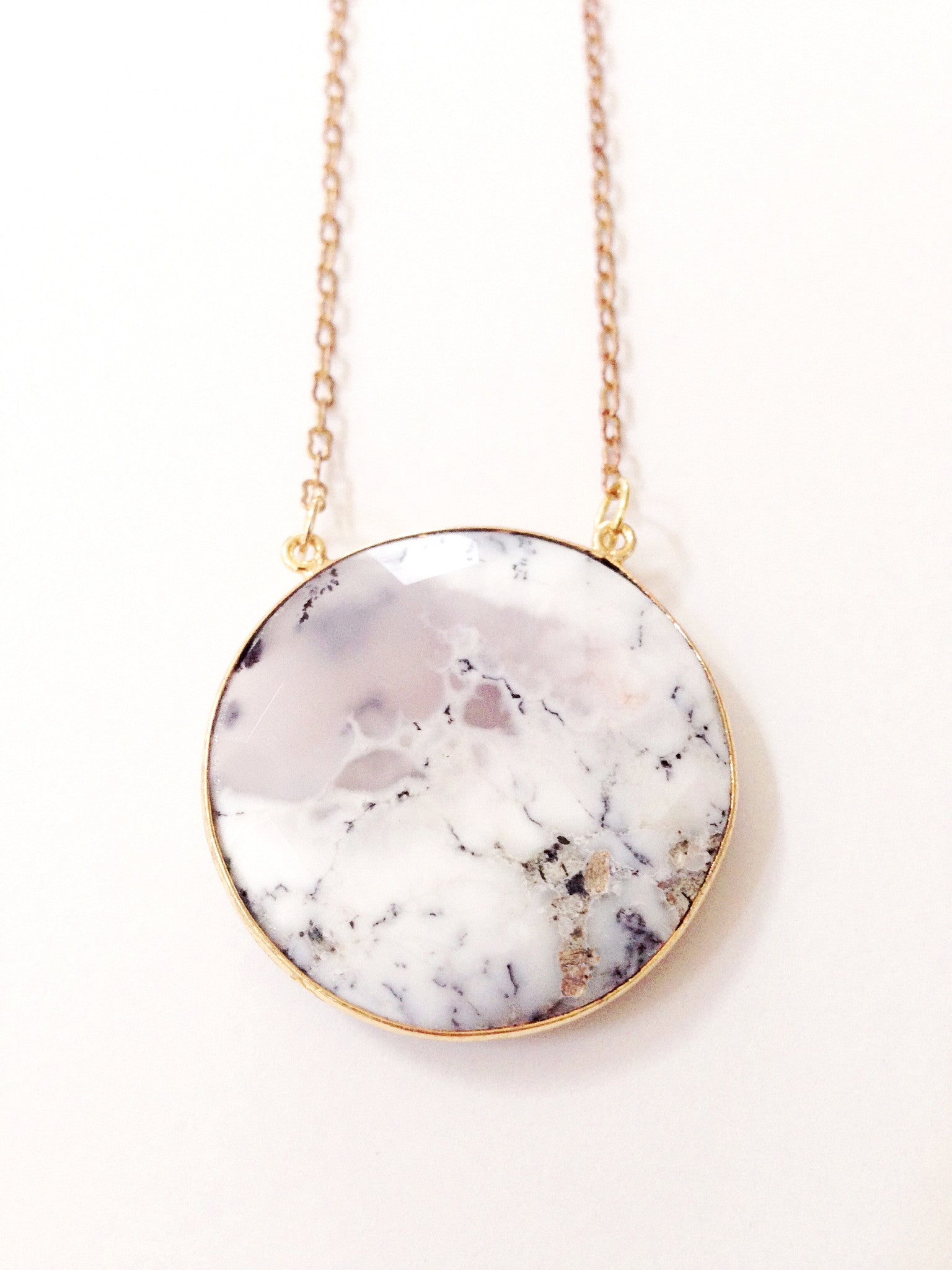 Dendritic Agate + 14k gold + Full Moon amulet