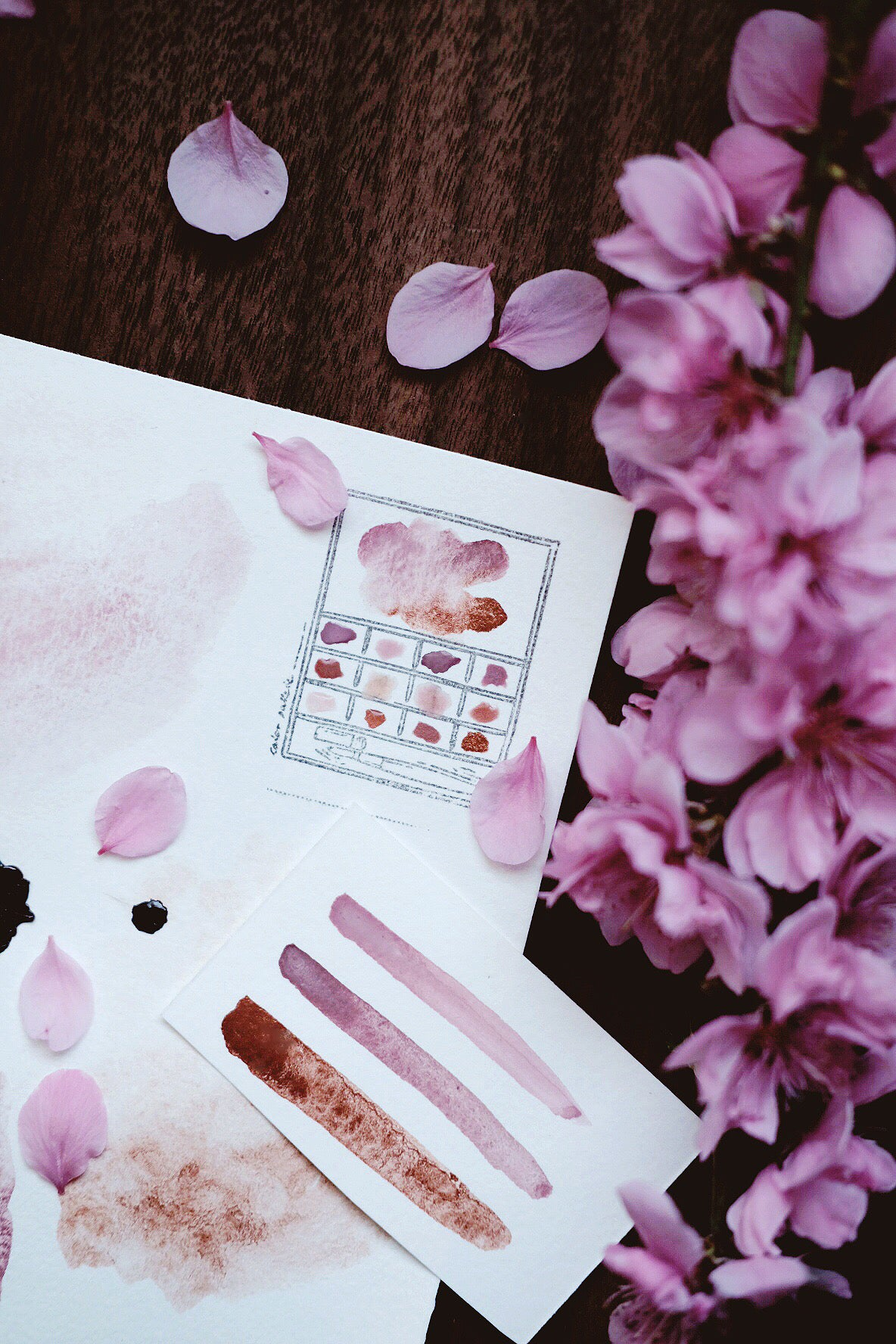 RESERVE for Jill + Sakura Petal - Limited edition Gemstone Mineral watercolor