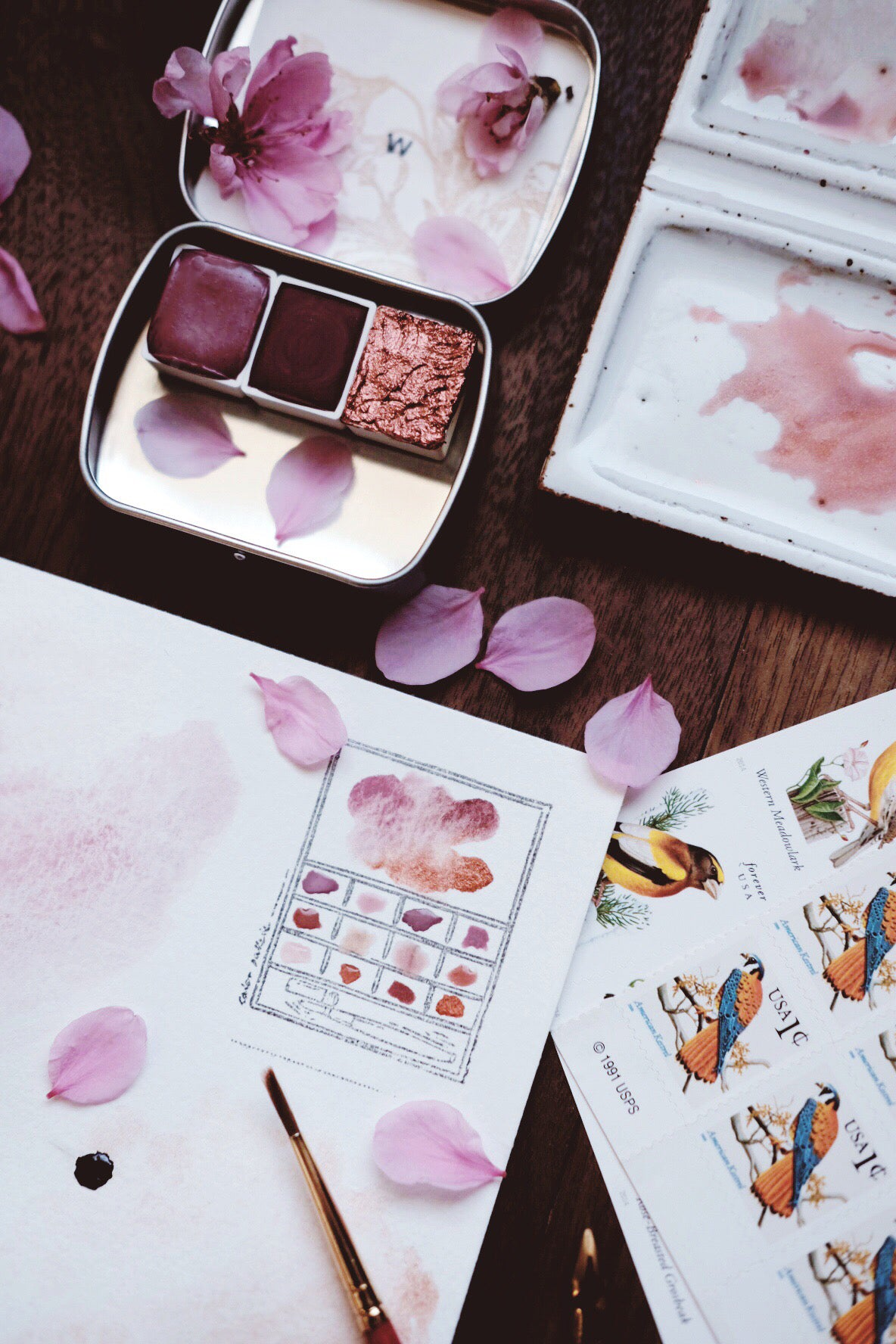RESERVE for Montserrath + Sakura Petal - Limited edition Gemstone Mineral watercolor palette