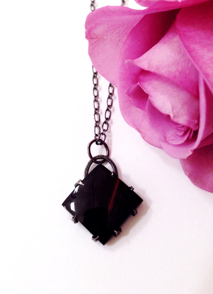 Four Directions + Natural Obsidian + Sterling Silver + Thorn amulet necklace