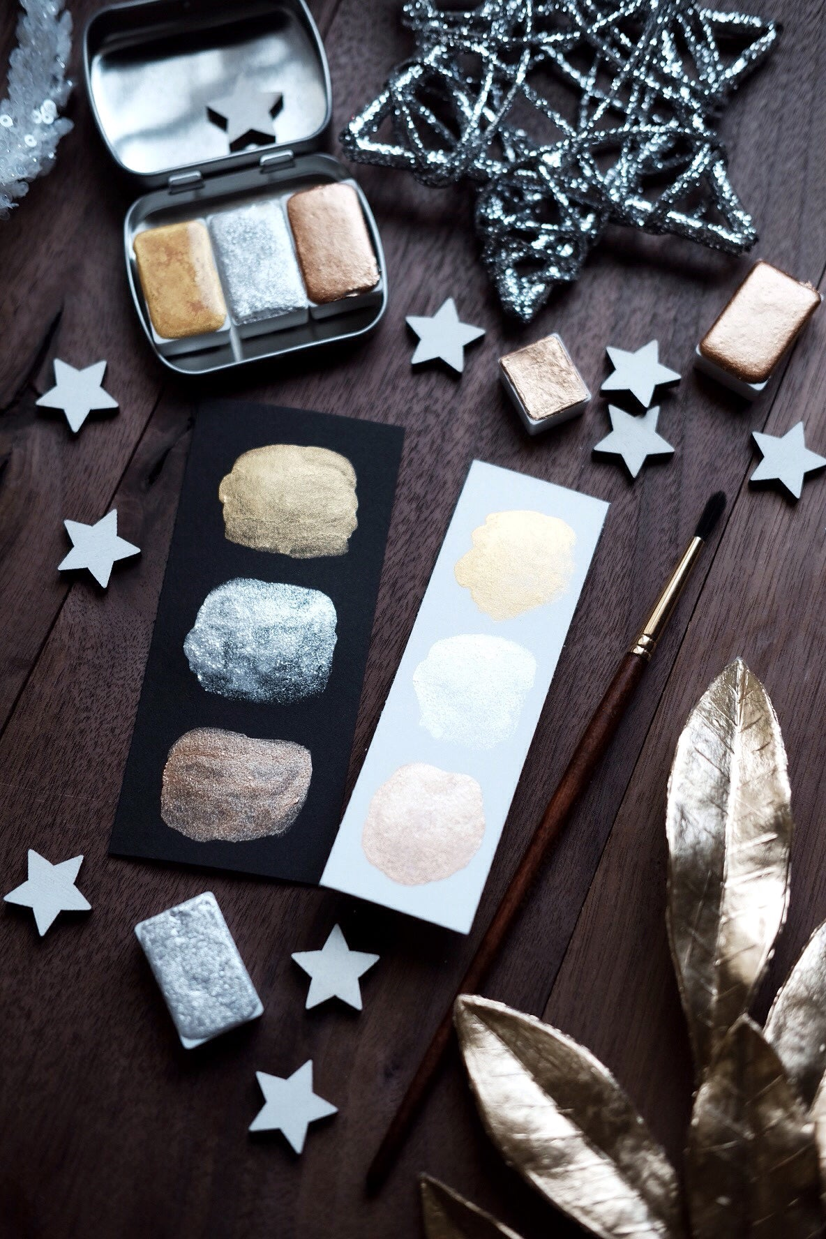 RESERVE for Ana + Celestial Lights - Petite Mineral watercolor palette