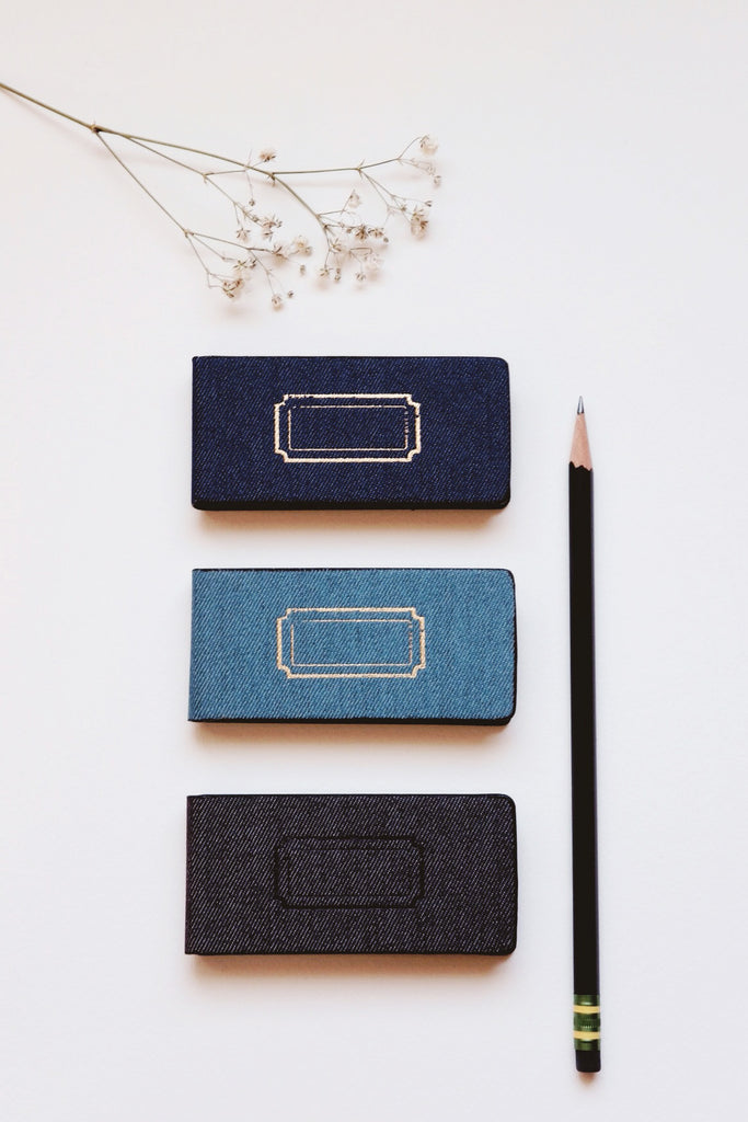 Denim notebook + recycled Kraft paper adhesive notes