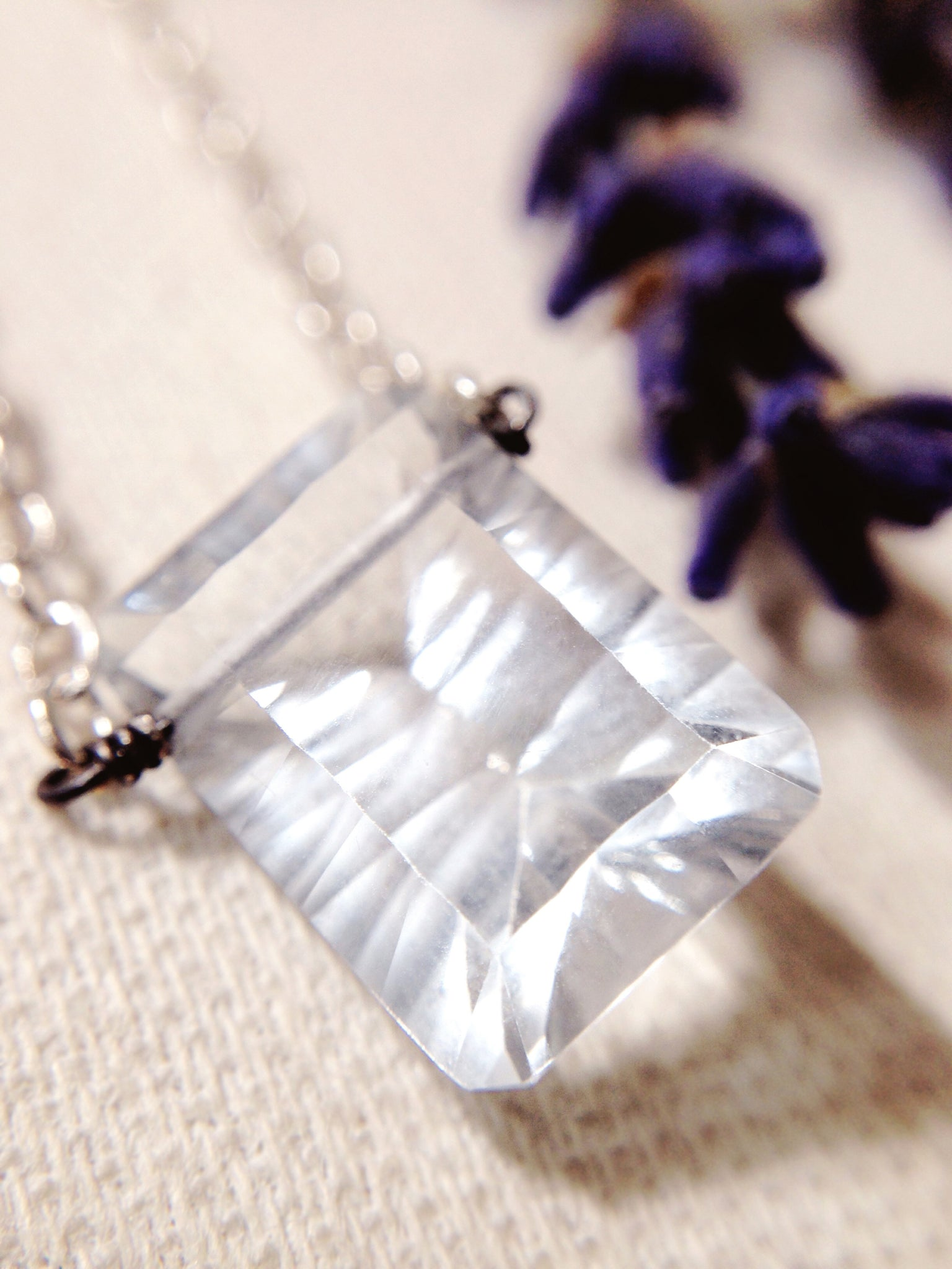 'Light of Perception' + Carved Emerald cut Quartz crystal + Sterling Silver necklace