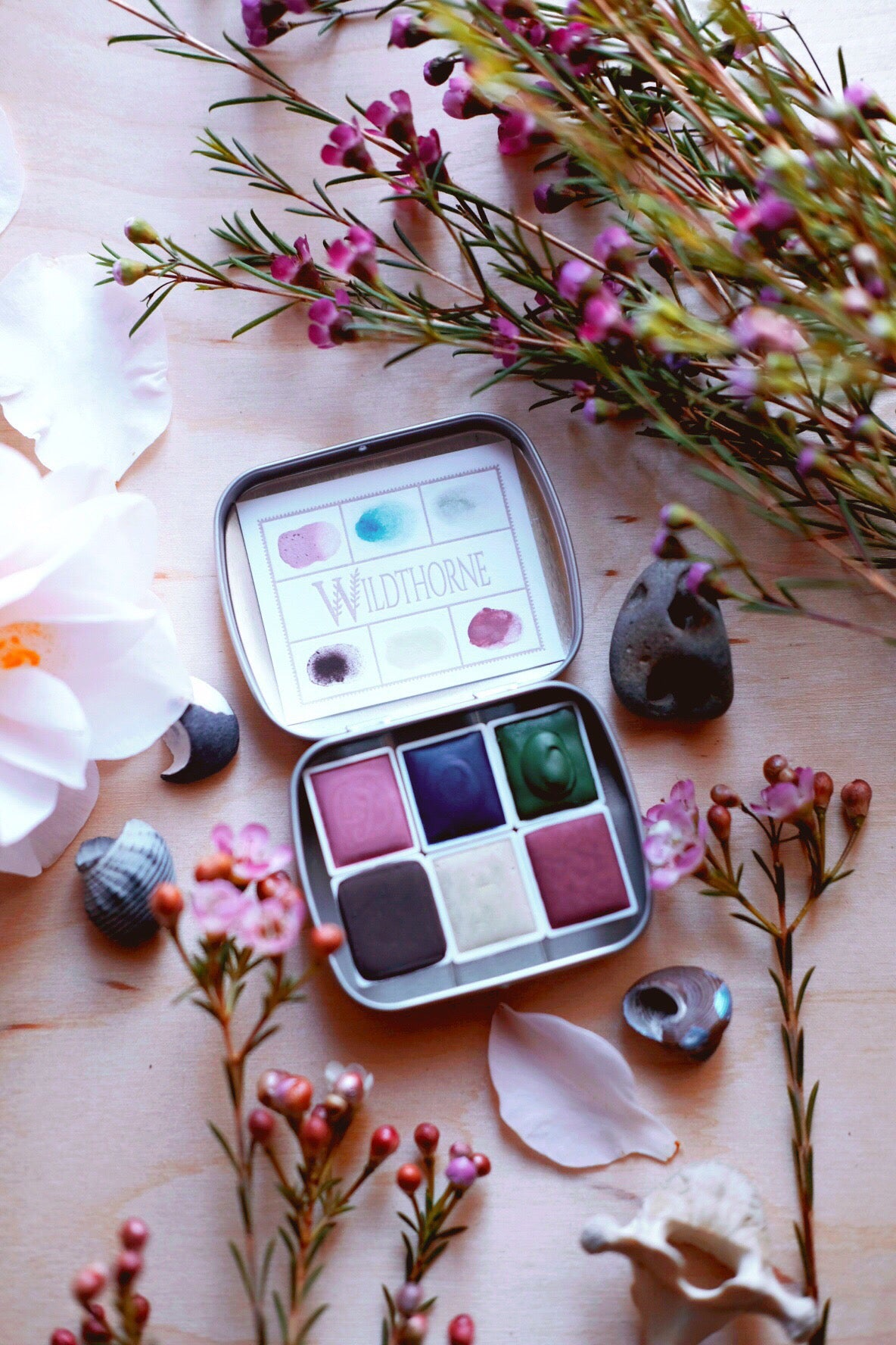 RESERVE for Johanna + Seashell Floret - Limited edition Gemstone Mineral watercolor palette