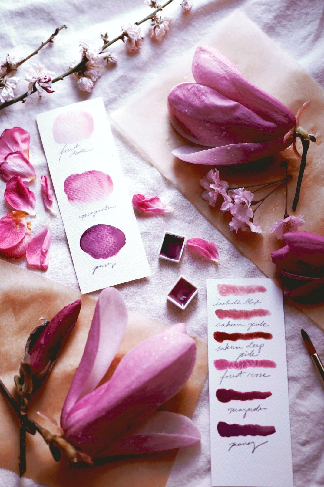RESERVE for Cheryl +  Pink Blossom + Limited edition gemstone watercolor palette