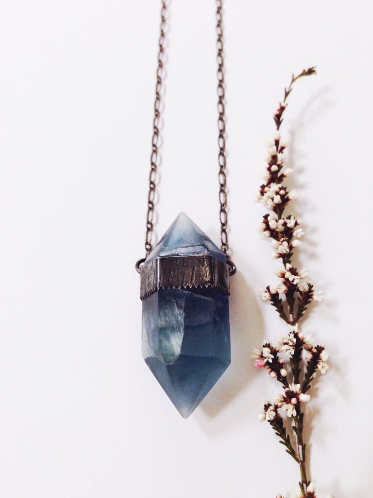 A prism of light and beauty + Blue Fluorite + Sterling Silver necklace