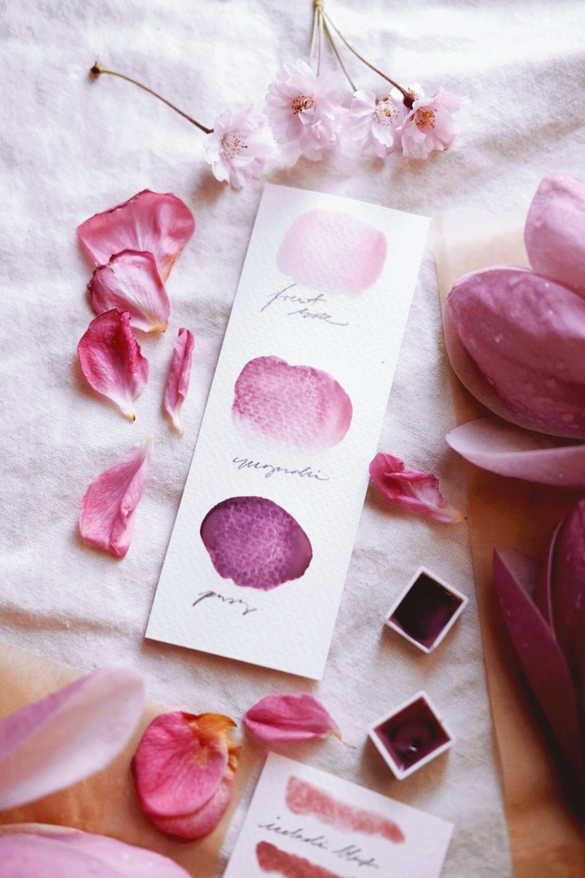 RESERVE for Julie + Pink Blossom + Limited edition gemstone watercolor palette