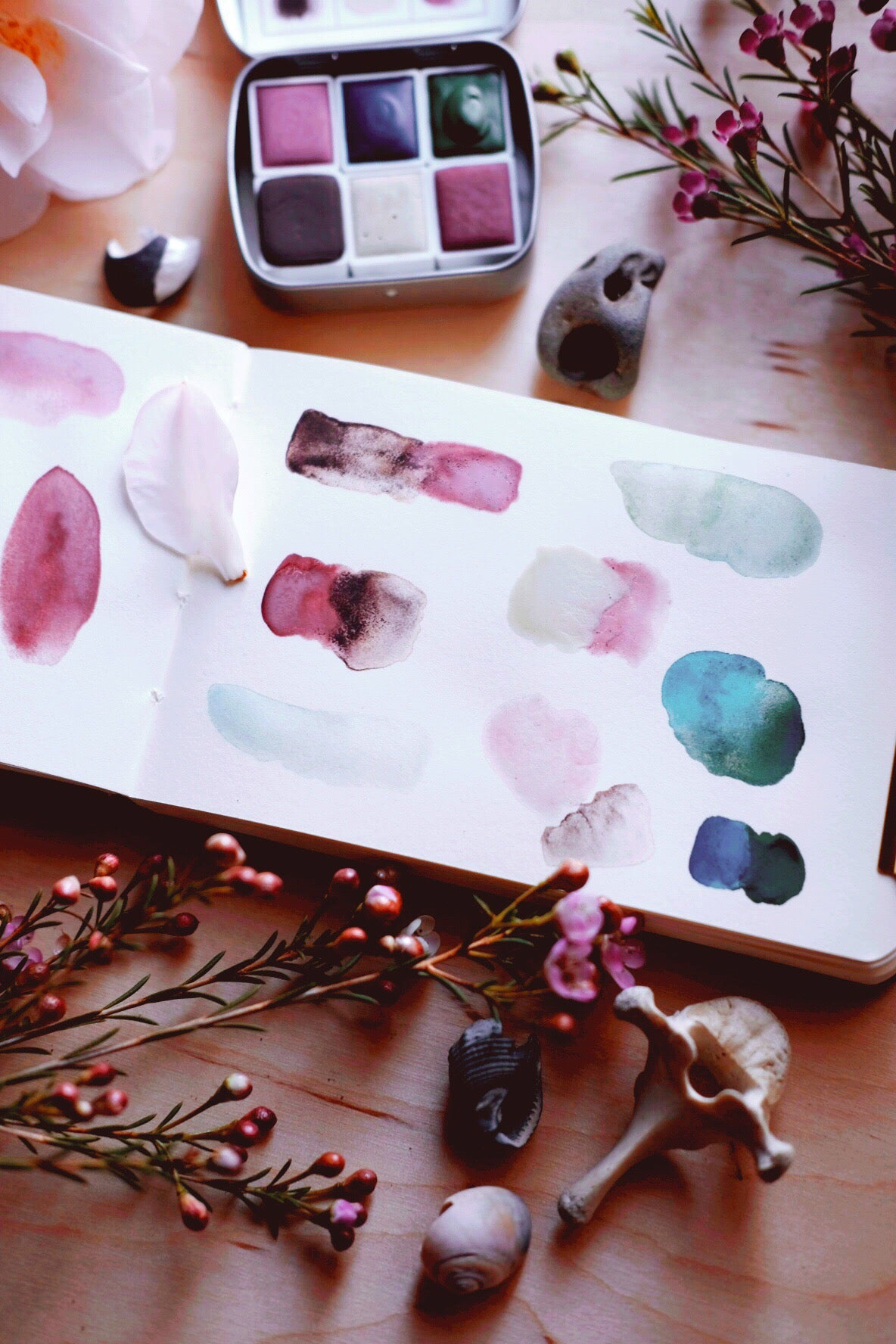 RESERVE for Lourdes + Seashell Floret - Limited edition Gemstone Mineral watercolor palette