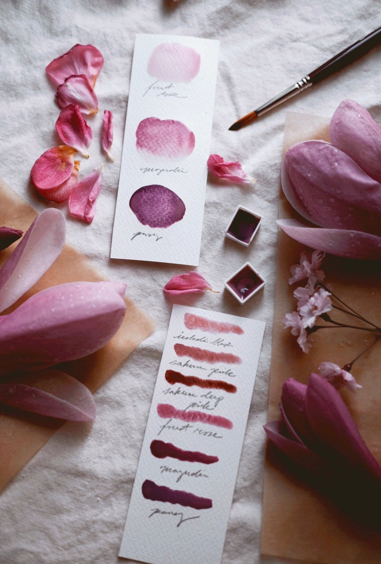 Pink Blossom + Limited edition gemstone watercolor palette