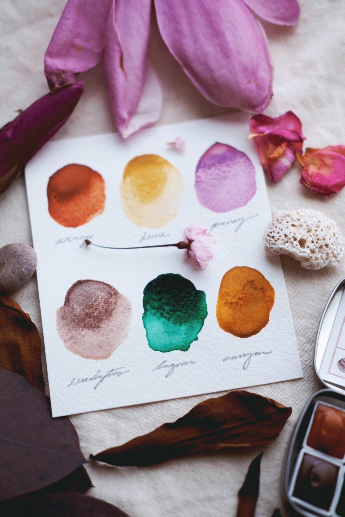 RESERVE for Carol + Limited edition Gemstone Mineral watercolor palettes