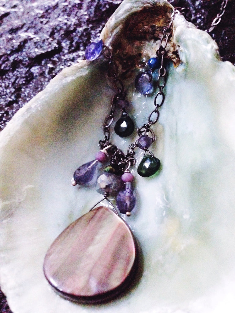 SOLD - 'Sea Nereid' + Aura Labradorite + Rainbow Abalone + Iolite + Chalcedony + Emerald Diopside + Spinel + Sterling Silver  crystal necklace