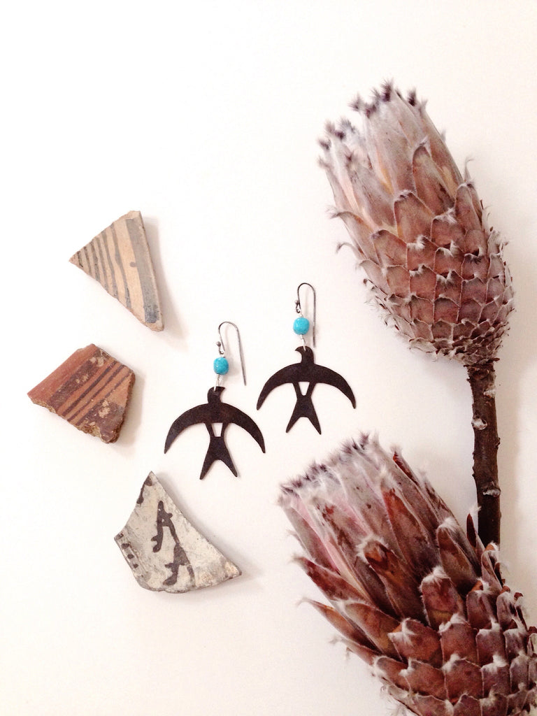 'Moon Bird' + Turquoise + Copper + Sterling Silver earrings