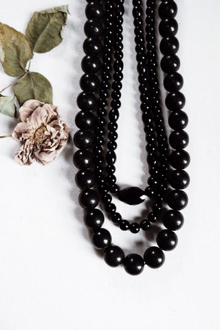 RESERVED FOR Lady C. - Night ritual iii. - Onyx stone beaded necklace
