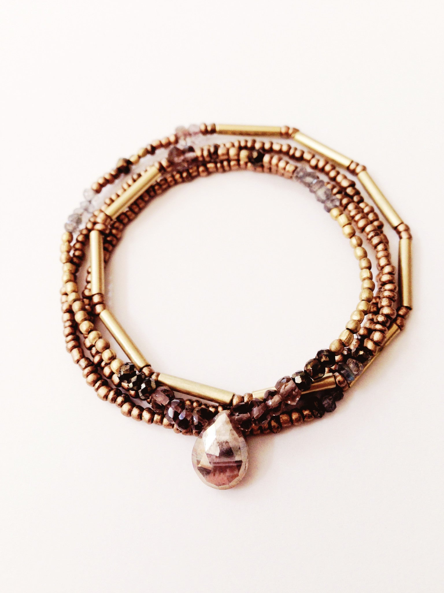 Dawn skies + Sapphire + Labradorite + Pyrite + Smoky Quartz + African Brass beaded crystal necklace