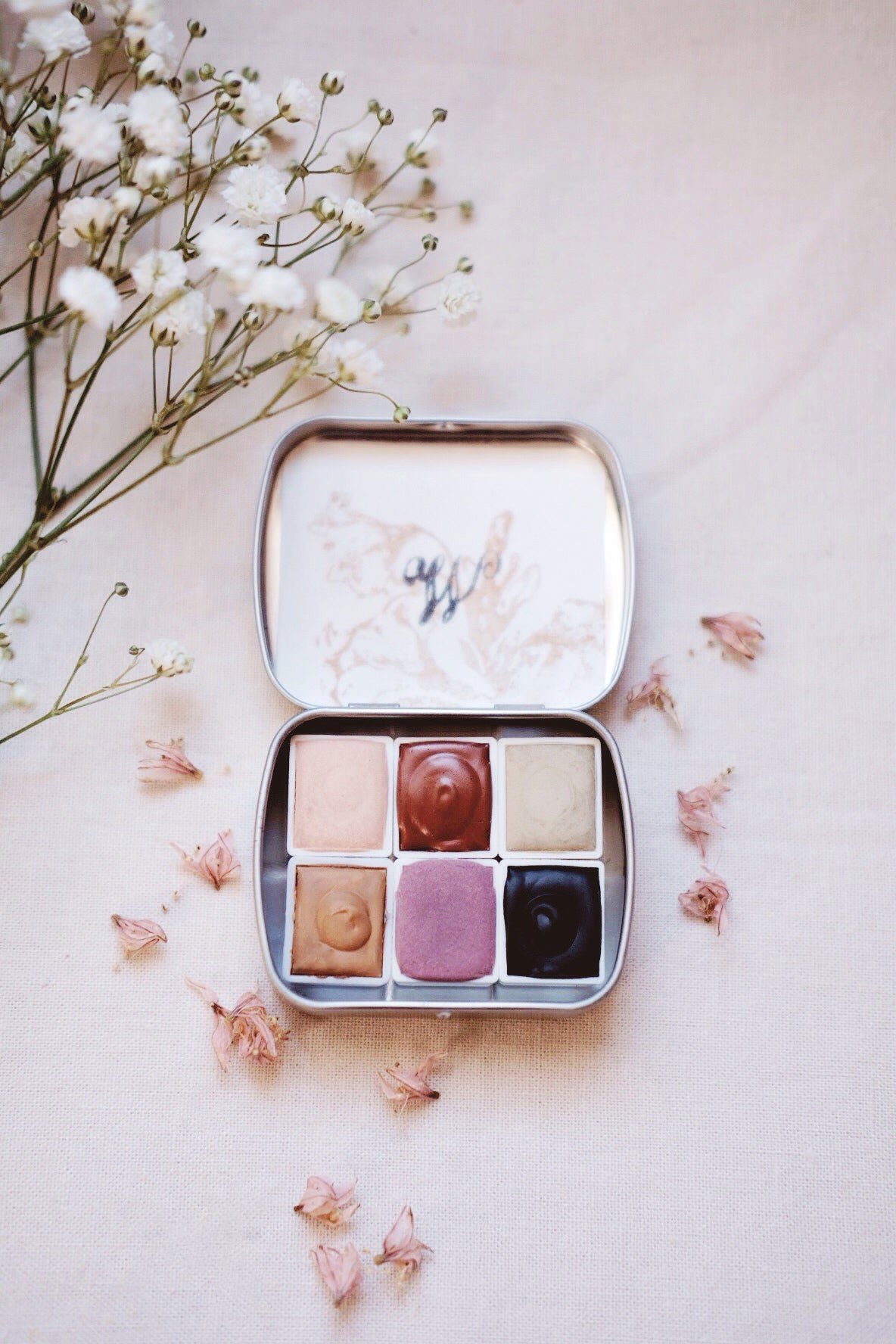 RESERVE for Maja + Foxtail Lily + Limited edition Gemstone Earth Mineral watercolor palette