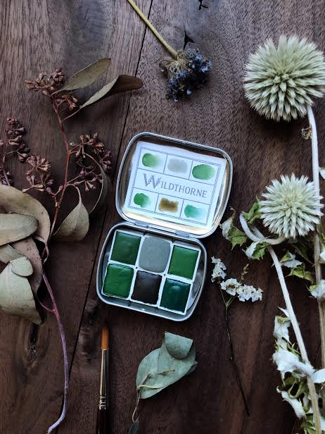 A Gathering of Leaves +  Limited edition Gemstone Mineral watercolor palette