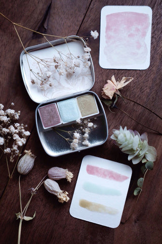 RESERVE for Edie. + Winter Pastel - Limited edition Gemstone Mineral watercolor palette