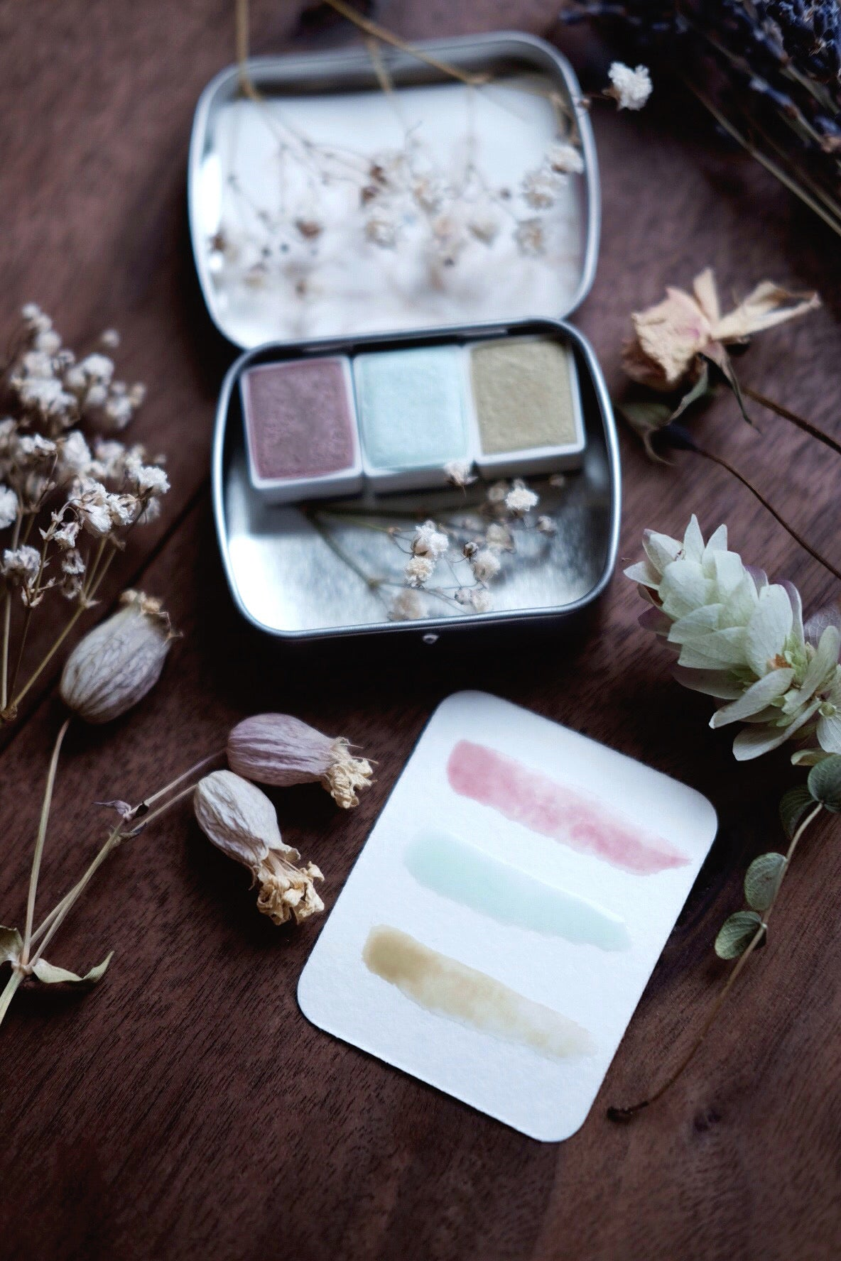 RESERVE for Heidi + Winter Pastel - Limited edition Gemstone Mineral watercolor palette
