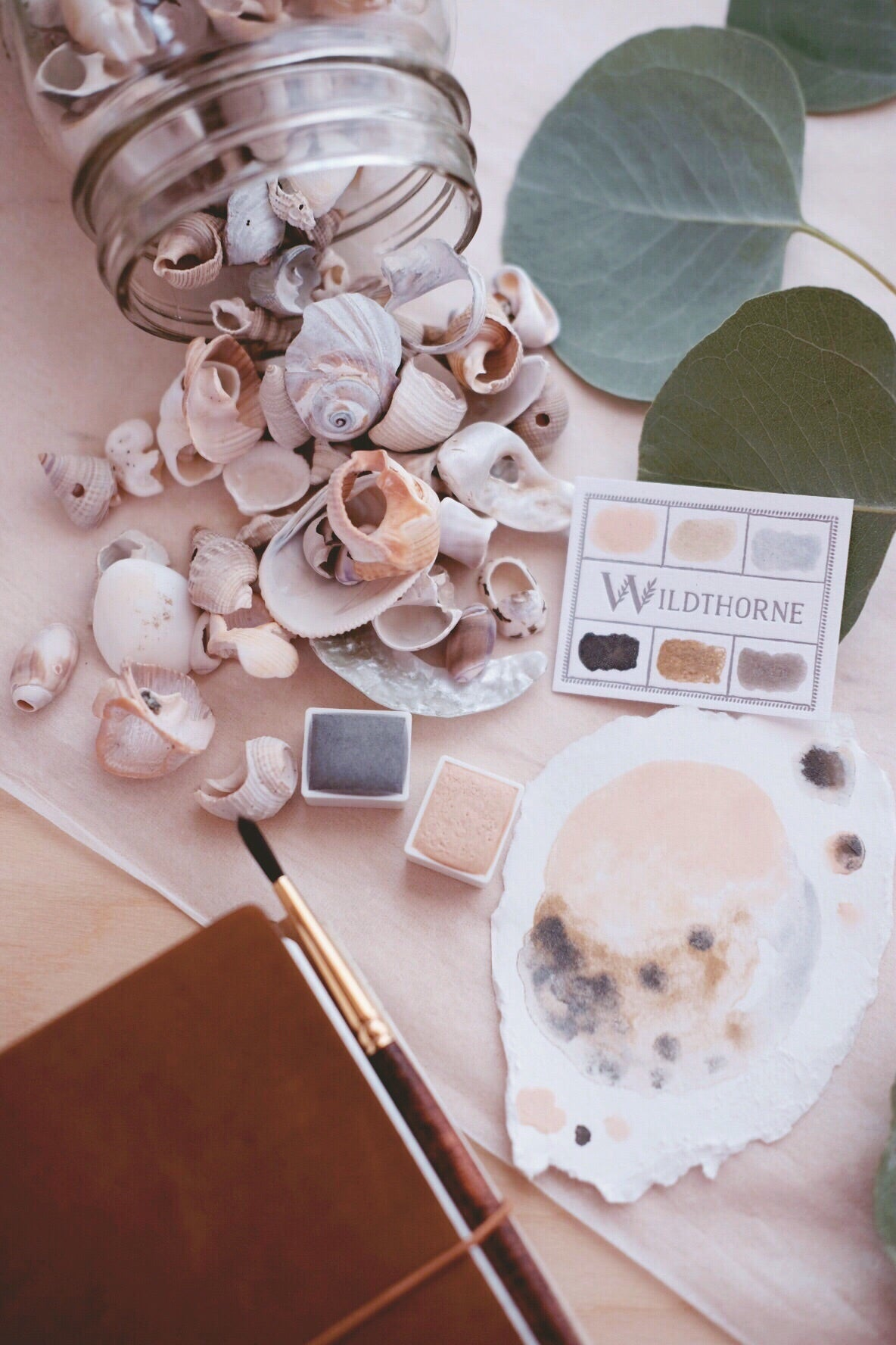 RESERVE for Micheline + Seashell Beachcombing - Limited edition Gemstone Mineral watercolor palette