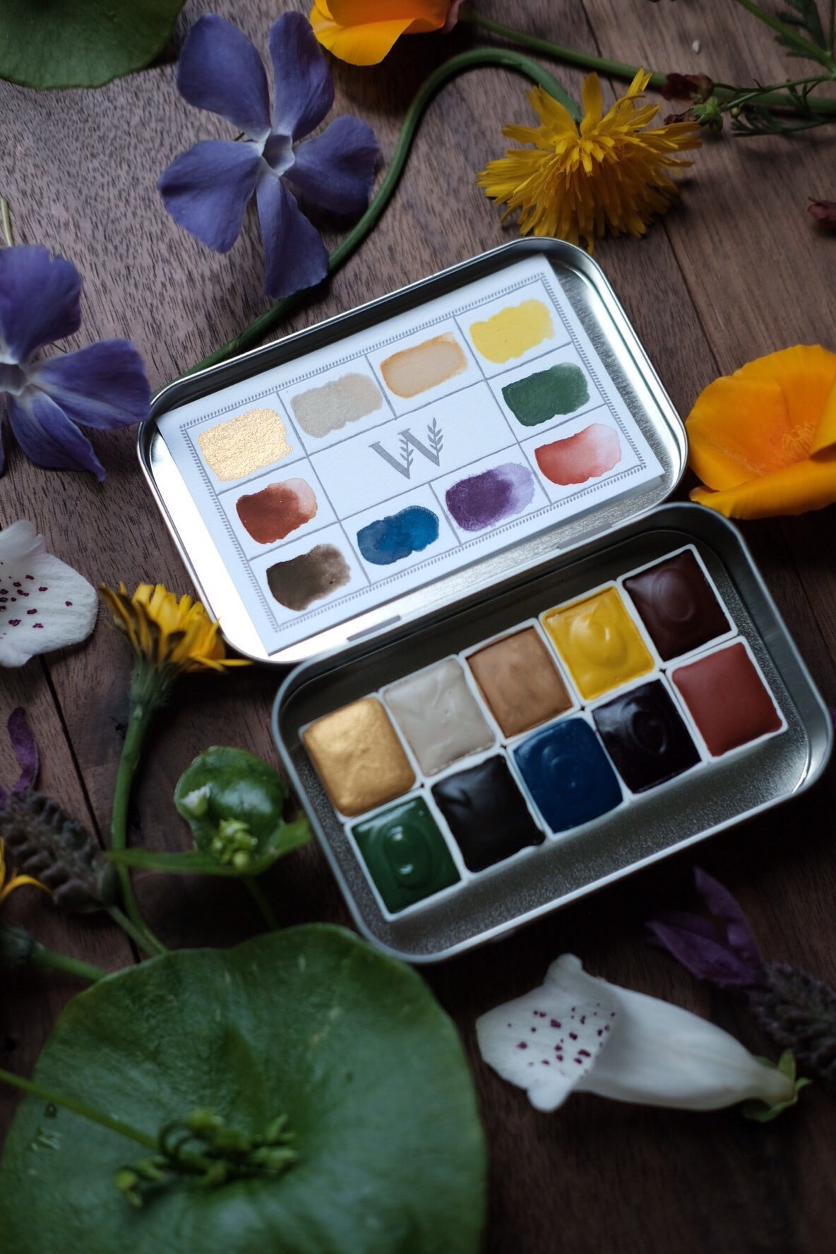 RESERVE for Moudhi + Dandelion + Earth Mineral watercolor palette