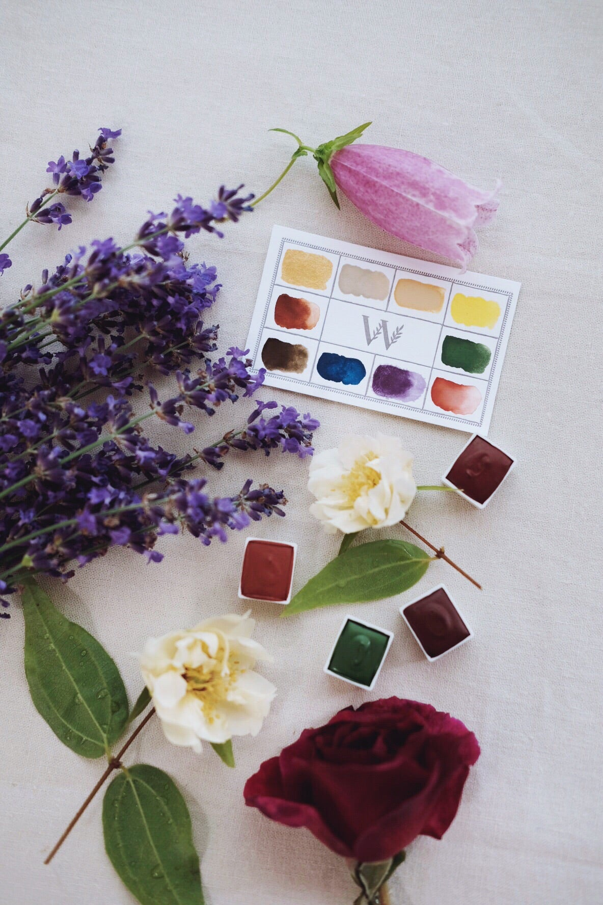 RESERVE for Micheline +  Dandelion + Earth Mineral watercolor palette