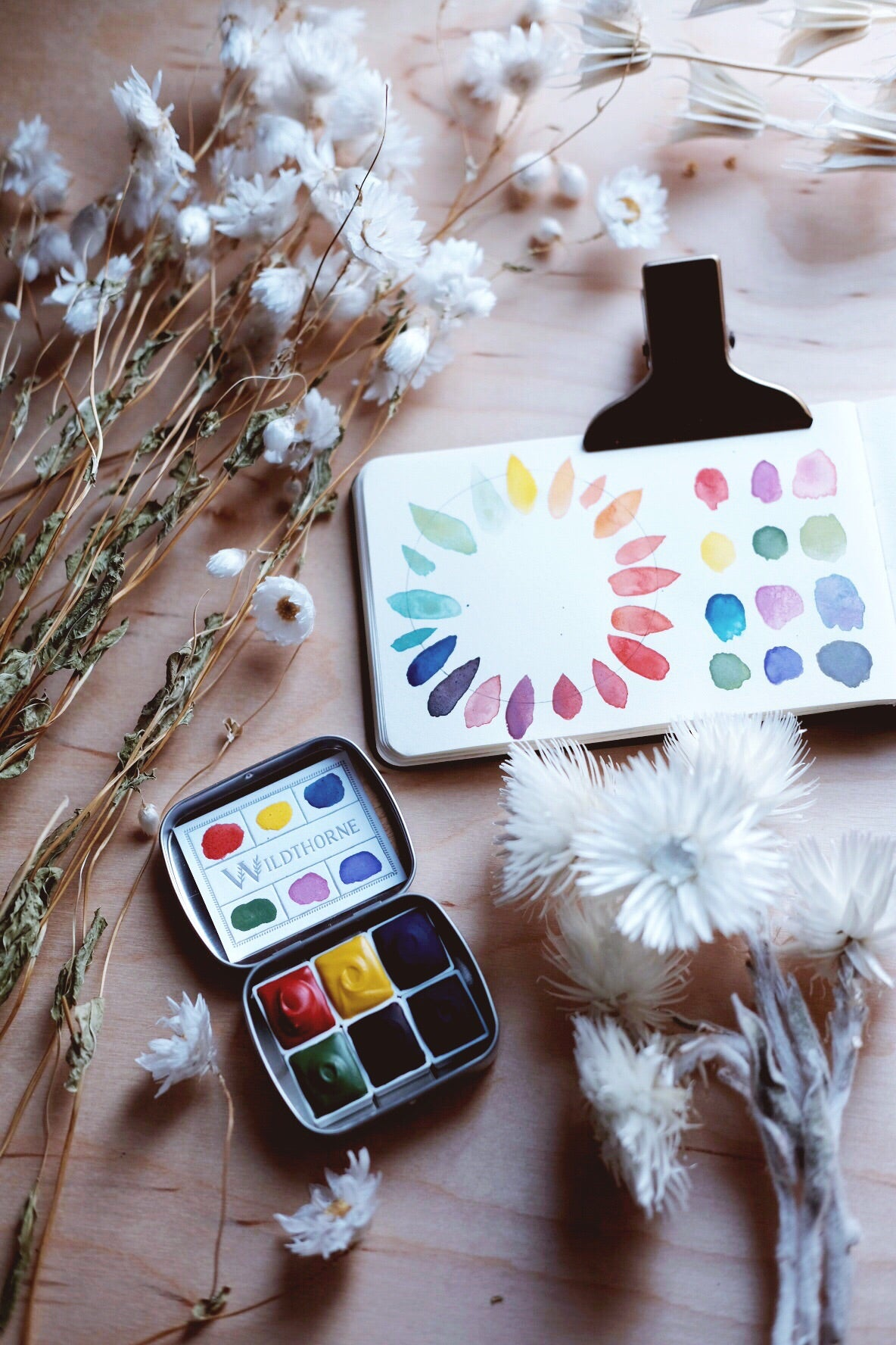 RESERVE for Sandra + Kaleidoscope + Primary Mineral watercolor palette