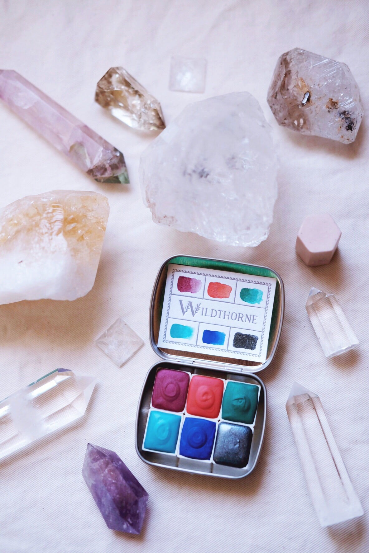 RESERVE for Phyllis + Custom Gemstone and Mineral watercolors  + Limited Edition Mineral shimmer watercolor palette