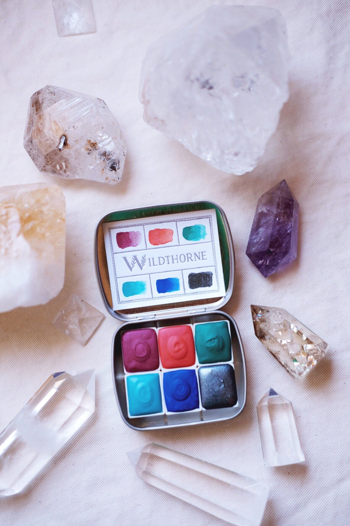 RESERVED for Jan + Moons of Saturn + Limited Edition Mineral shimmer watercolor palette