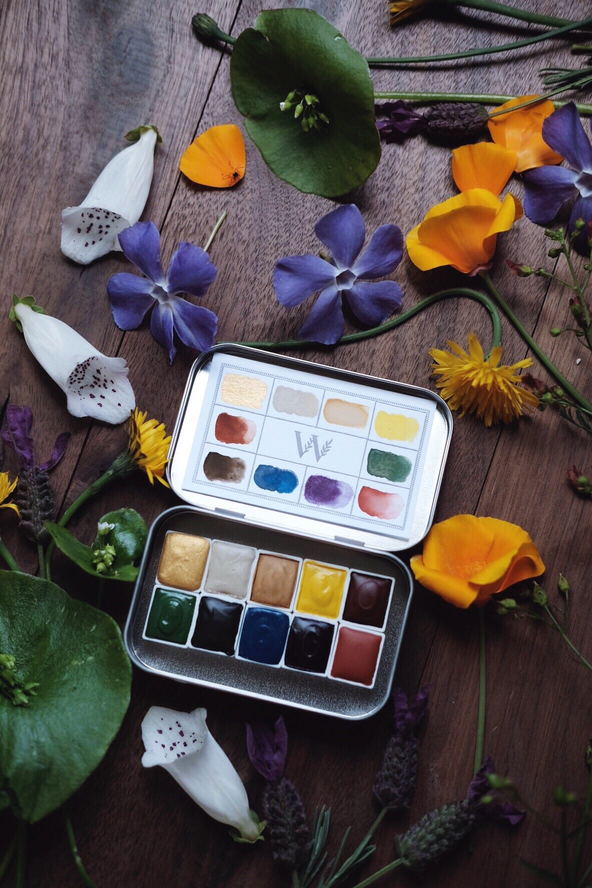 Dandelion + Earth Mineral watercolor palette