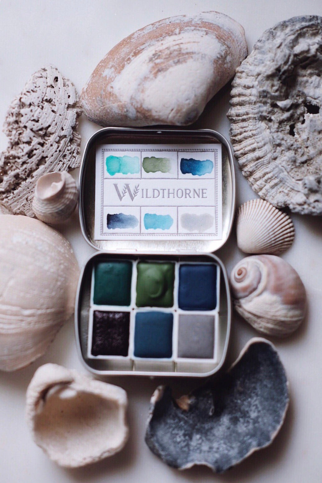 RESERVE for Paula + Ocean sediment -  Mineral watercolor palette