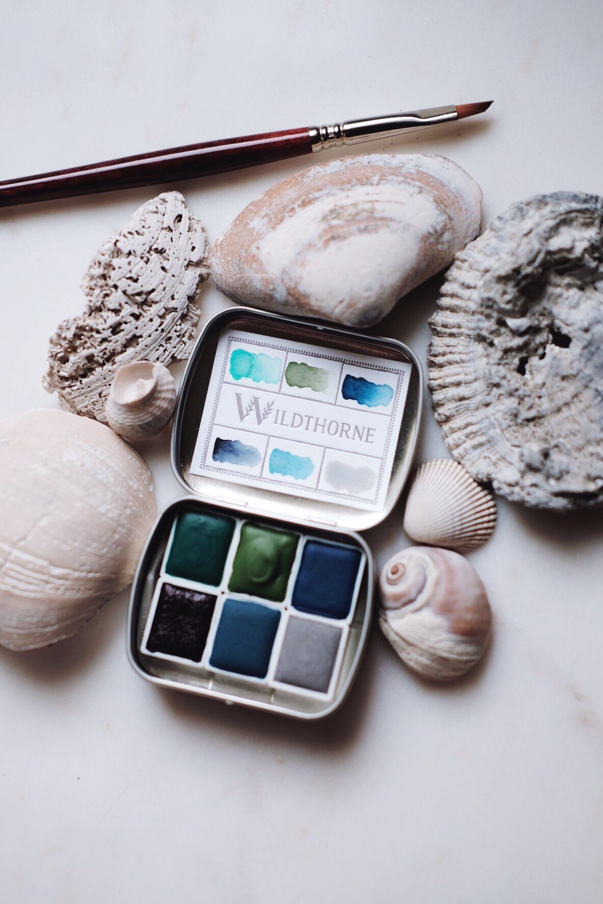 RESERVE for Joan + Ocean sediment + Mineral watercolor palette