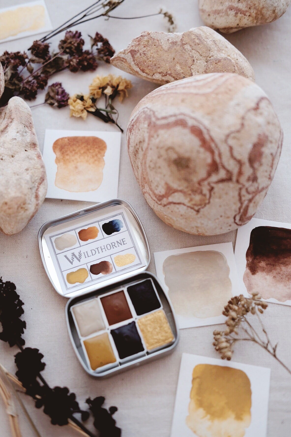 RESERVE for Mary + Painted Rock +  Natural Mineral watercolor palette