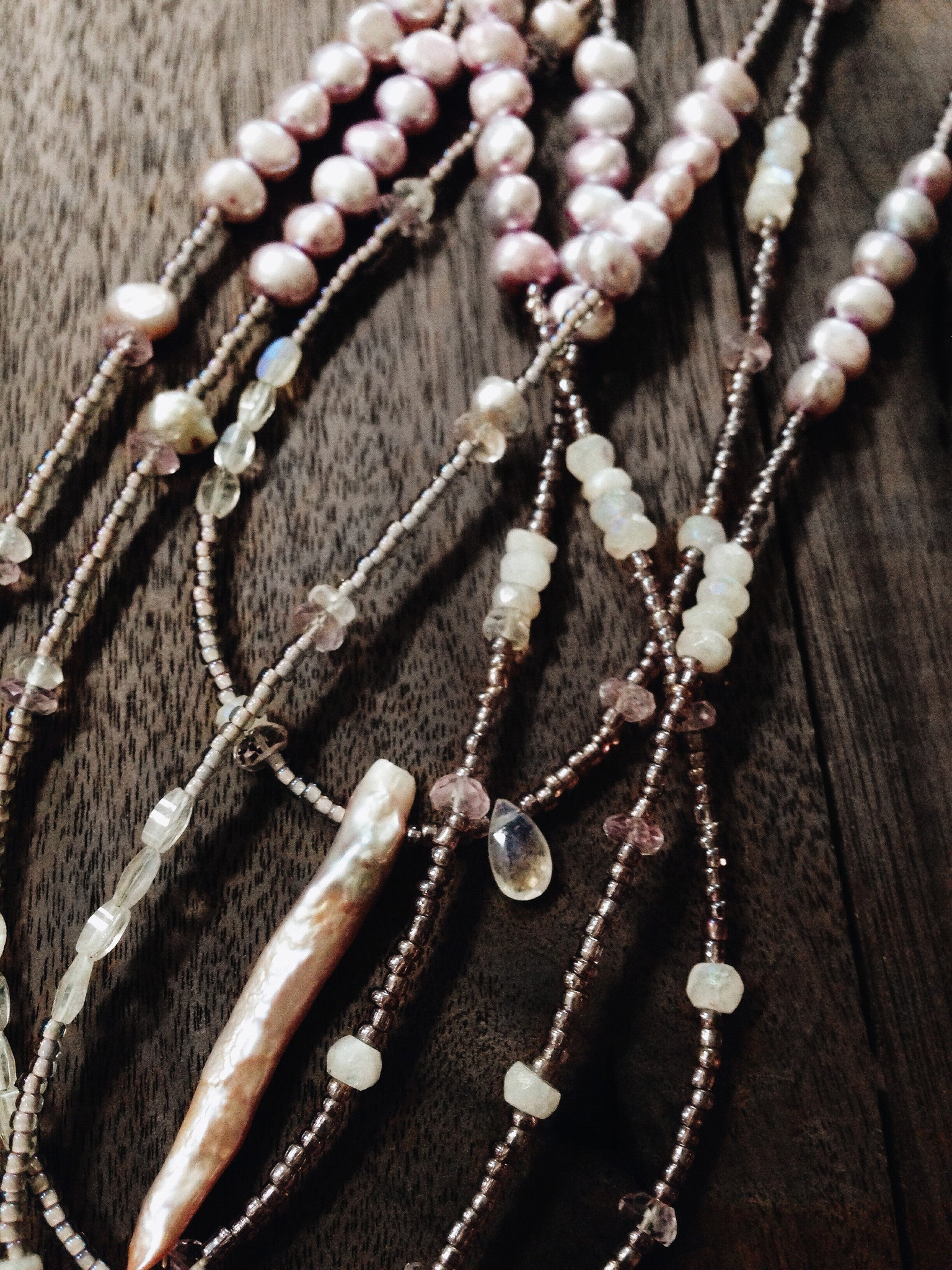 SOLD - Moon Pearl + Natural Freshwater Pearl + Aura Moonstone + Rose de France Amethyst and Rose Quartz necklace