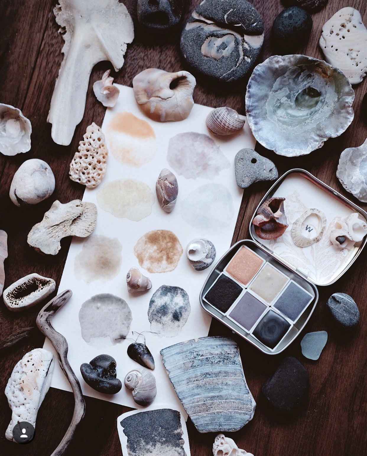 RESERVE for Janine + Seashell Beachcombing - Limited edition Gemstone Mineral watercolor palette