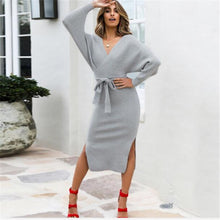 Load image into Gallery viewer, Autumn V Neck With Cross Belt Sweater Dress
