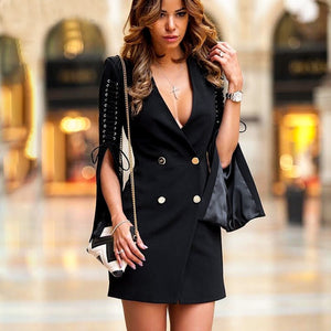 Split flare sleeve lace up blazer dress