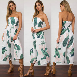 Strapless Palm Leaf Geometric Print Jumpsuit