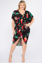 Load image into Gallery viewer, Multi Color Print Short Sleeve Kimono Dress With Waist Tie