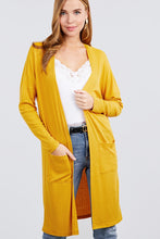 Load image into Gallery viewer, Long Dolman Sleeve Open Front W/pocket Pointelle Rib Long Cardigan